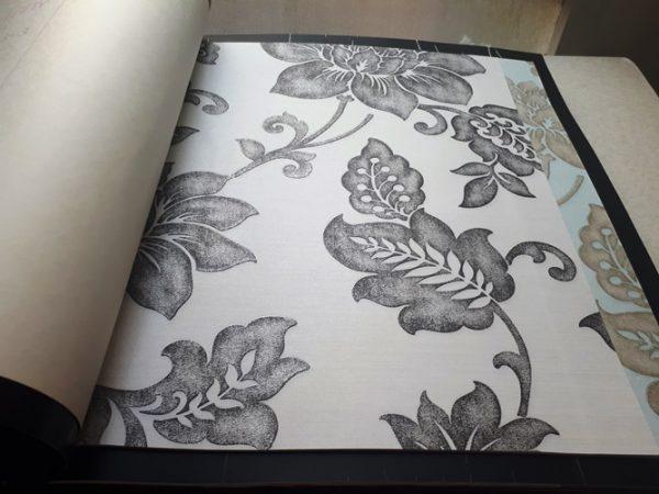 کاغذ دیواری گل دار طوسی