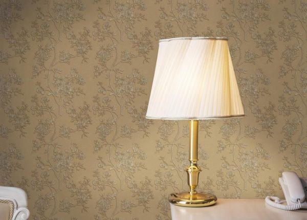 کاغذ دیواری سه بعدی گل دار قهوه ای روشن