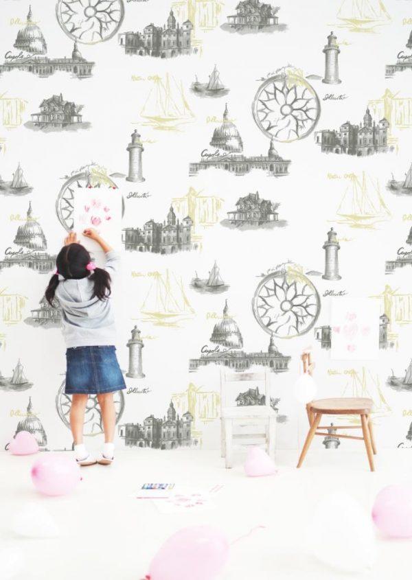 کاغذ دیواری نوجوان - برج ایفل - فانتزی طرح شهر