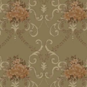 کاغذ دیواری گل دار زیتونی