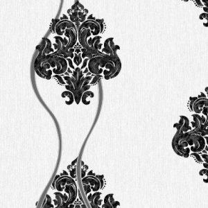 کاغذ دیواری داماسک سفید با گل مخملی مشکی