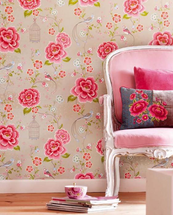 کاغذ دیواری گل دار صورتی