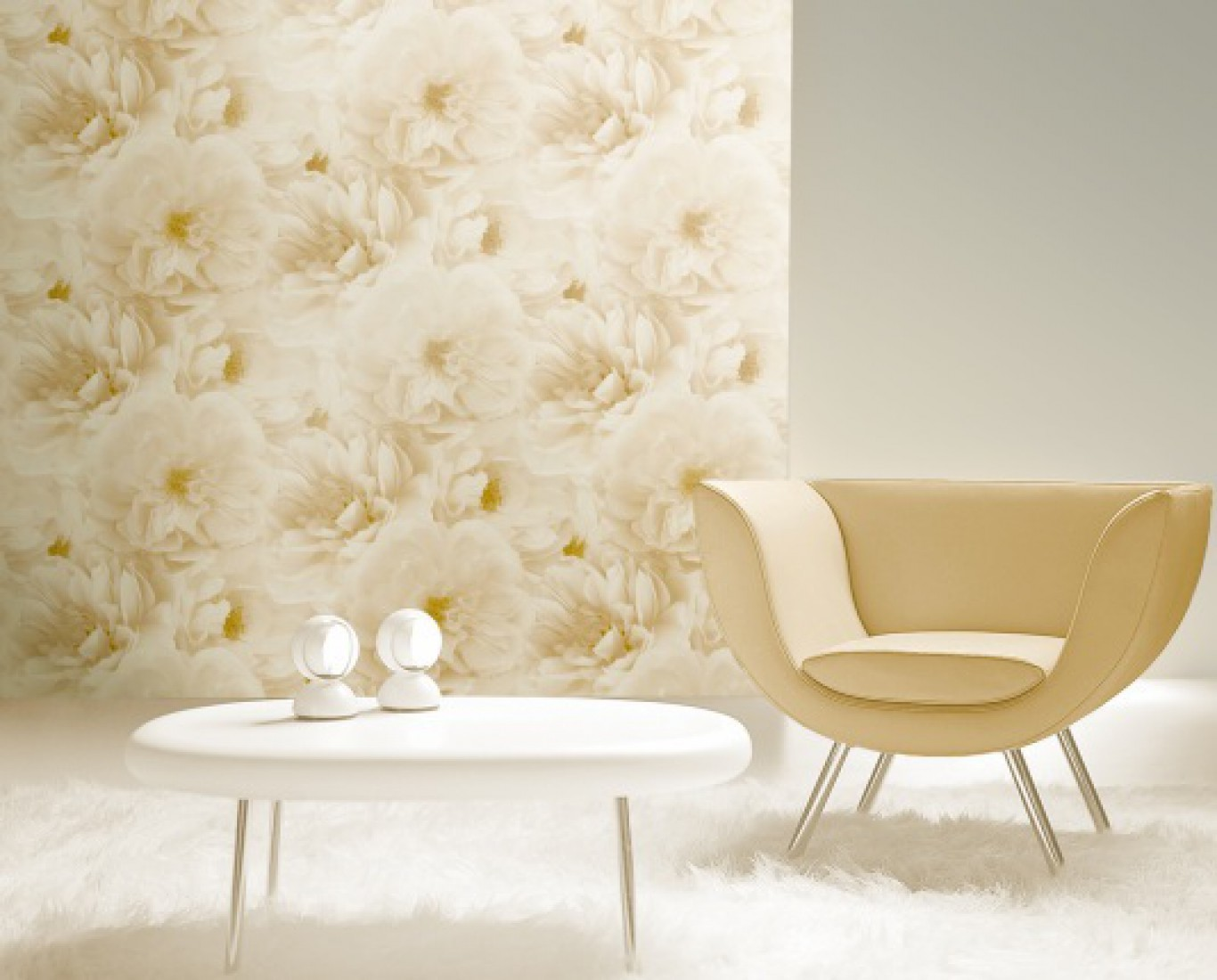 کاغذ دیواری گل دار رنگ روشن