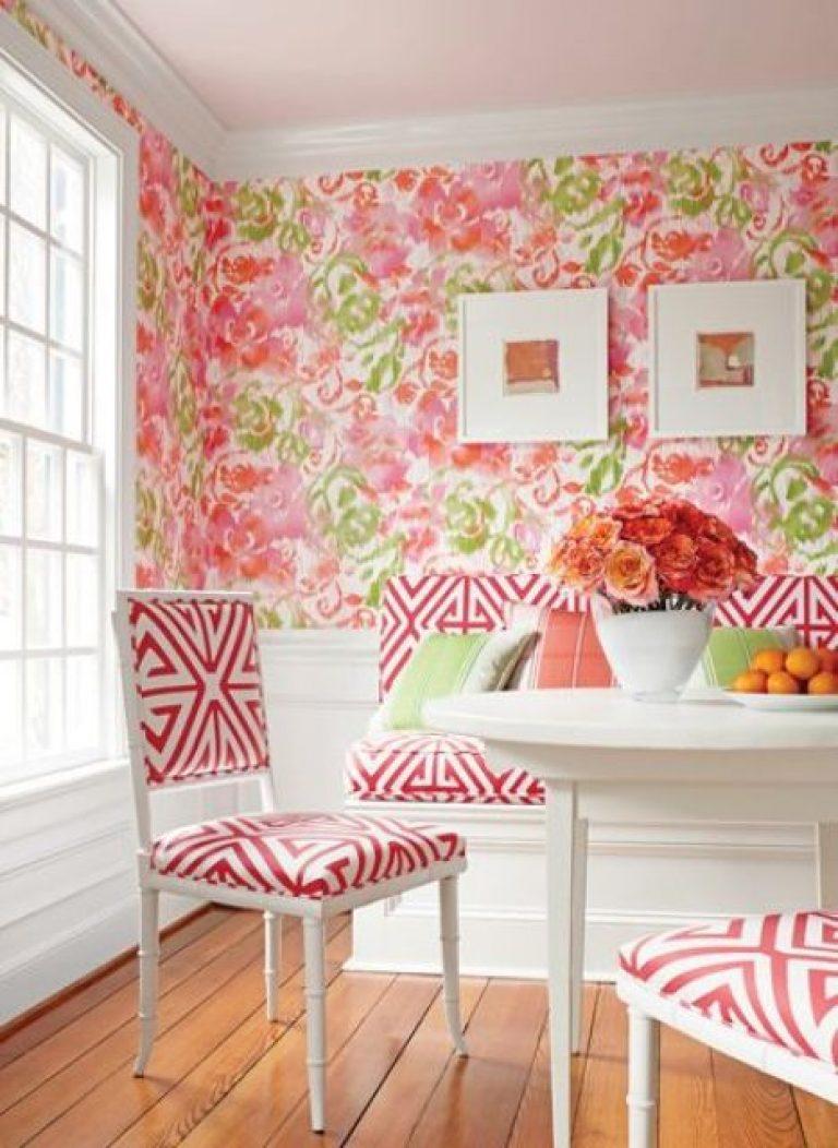 کاغذ دیواری گل دار برای نهار خوری
