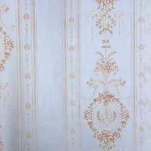 کاغذ دیواری آبی گل دار مجلل