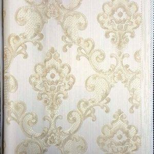 کاغذ دیواری گل دار بژ داماسک پذیرایی