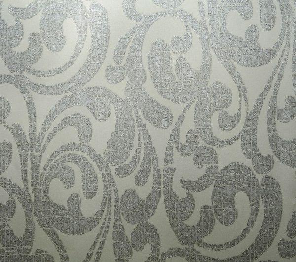 کاغذ دیواری گل دار نقره ای