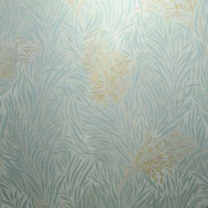 کاغذ دیواری آبی فیروزه ای گل دار