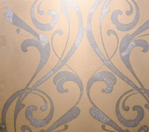 کاغذ دیواری بژ داماسک