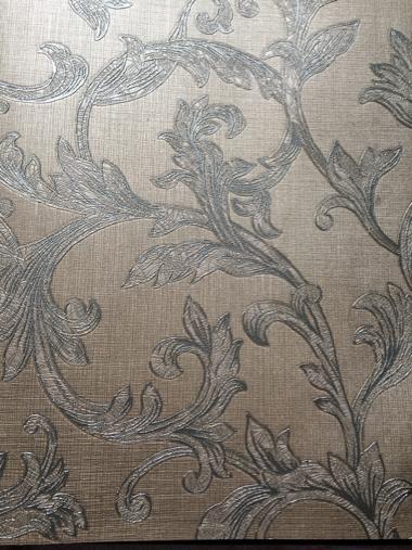 کاغذ دیواری گل دار زیتونی- قهوه ای