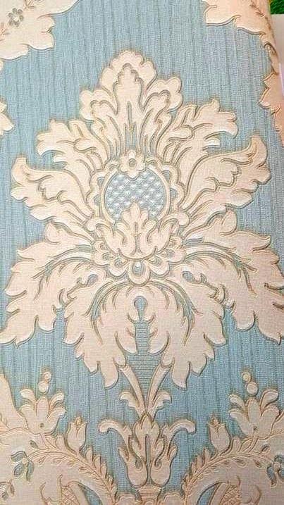 کاغذ دیواری داماسک بژ و آبی