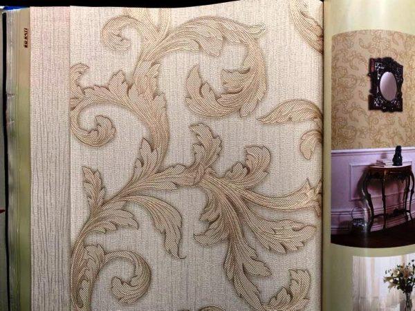 کاغذ دیواری سه بعدی گل دار طلایی