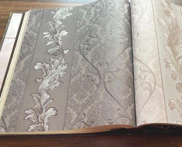9621-4 کاغذ دیواری گل دار طوسی