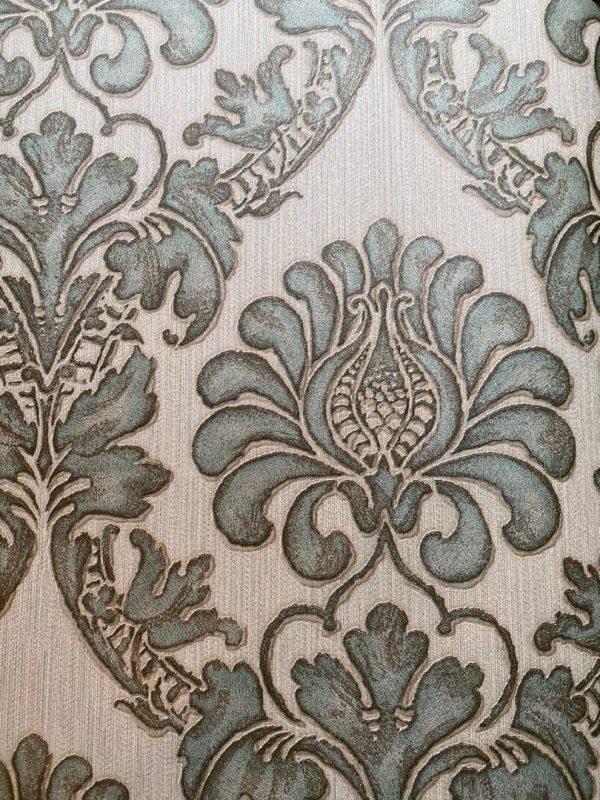 کاغذ دیواری گل داماسک سبزآبی