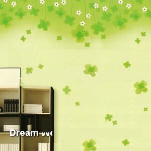 کاغذ دیواری گل دار شاد سبز