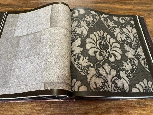 کاغذ دیواری مشکی طوسی مجلل