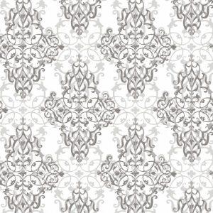کاغذ دواری داماسک سفید نقره ای